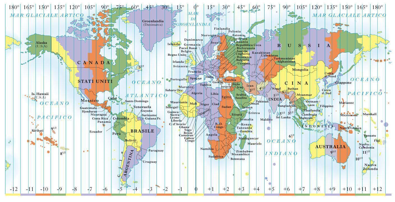 Fusi orari UTC nel mondo