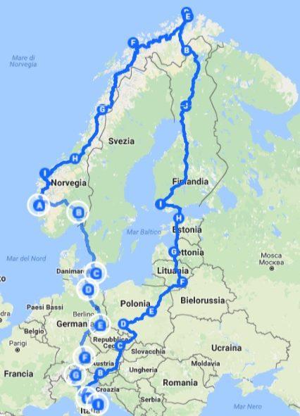 Capo nord in moto PocaAderenza itinerario 1